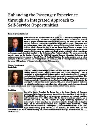 "Publication Image for ""Enhancing the Passenger Experience through an Integrated Approach to Self-Service Opportunities"" by Frank Barich, Leslie Ruiz, and Jim Miller. Practice paper, Journal of Airport Management, Vol. 10(1), Winter 2015-16."